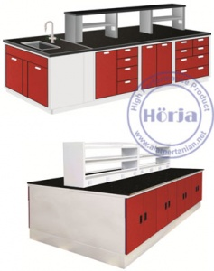 Steel Island Bench with Sink and Rack Meja Lab Ruang Tengah dengan Sink/Rack